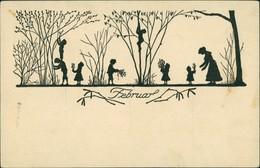Scherenschnitt/Schattenschnitt-Ansichtskarten Künstlerkarte Februar 1922 - Scherenschnitt - Silhouette