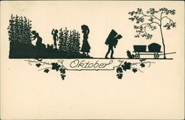 Scherenschnitt/Schattenschnitt-Ansichtskarten Künstlerkarte Oktober 1922 - Scherenschnitt - Silhouette