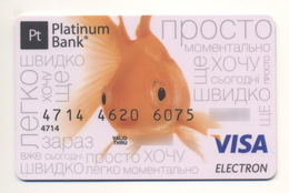 Credit Card Fauna Goldfish Bankcard Platinum Bank UKRAINE VISA Expired - Carte Di Credito (scadenza Min. 10 Anni)