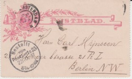 NEDERLAND POSTBLAD 21 OCTOBER 1887 AMSTERDAM BERLIN - Entiers Postaux