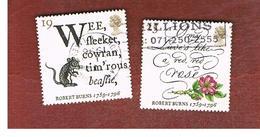 GRAN BRETAGNA.GREAT BRITAIN -  SG 1901.1902  -  1996  R. BURNS, SCOTTISH POET  - USATI - 1952-.... (Elisabetta II)
