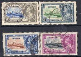Ceylon GV 1935 Silver Jubilee Set Of 4, Used, SG 379/82 (A) - Ceylon (...-1947)