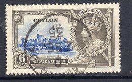 Ceylon GV 1935 Silver Jubilee 6c Value, Used, SG 379 (A) - Ceylon (...-1947)