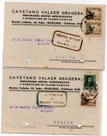 2 Tarjetas Postales Con Censura Militar De Badajoz 1939 - 1931-50 Brieven