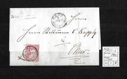 1854-1862 Helvetia (Ungezähnt) Strubel → 1860 Brief MADULAIN (Balkenstempel) Nach Chur  ►SBK-24B3.V◄ - 1854-1862 Helvetia (Non-dentelés)