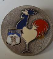 Rare Insigne Megève Avec Coq Français - Badges & Ribbons