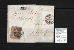 1854-1862 Helvetia (Ungezähnt) Strubel → 1856 Brief WANGS (Balkenstempel) Nach Aargau  ►SBK-22B2.II◄ - 1854-1862 Helvetia (Non-dentelés)