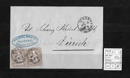 1854-1862 Helvetia (Ungezähnt) Strubel → 1859 Brief WÄDENSCHWEIL Nach Zürich   ►SBK-22B3.IV◄ - 1854-1862 Helvetia (Non-dentelés)