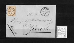 1854-1862 Helvetia (Ungezähnt) Strubel → 1860 Brief GLARUS (Rundstempel) Nach Zürich   ►SBK-25B4.V◄ - 1854-1862 Helvetia (Non-dentelés)