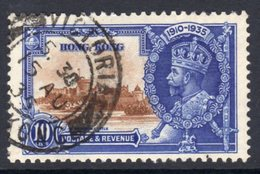 Hong Kong GV 1935 Silver Jubilee 10c Value, Used, SG 135 (A) - Used Stamps