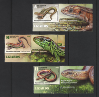 Belarus 2018 - Reptiles. Lizards. Biélorussie / Weissrussland. Mih. 1264/66 Fauna. 3 Stamps With Coupons, MNH - Bielorussia