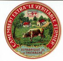 """Petite étiquette """" CAMEMBERT EXTRA """" LE VERITYABLE FERMIER """" Fabriqué En Thiérache - Quesos"""