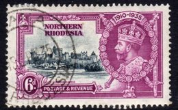 Northern Rhodesia GV 1935 Silver Jubilee 6d Value, Used, SG 21 (A) - Northern Rhodesia (...-1963)