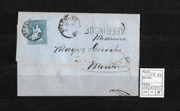1854-1862 Helvetia (Ungezähnt) Strubel → 1860 Brief DELEMONT Nach MOUTIER  ►SBK-23B4.Vb AFFR.INSUF.◄ - 1854-1862 Helvetia (Non-dentelés)