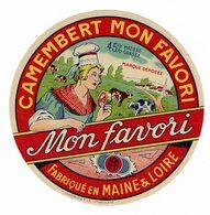 """Et. """" Camembert MON FAVORI"""" Fabriqué En Maine Et Loire - - Quesos"""