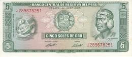 BILLETE DE PERU DE 5 SOLES DE ORO DEL AÑO 1974 EN CALIDAD EBC (XF) (BANKNOTE) - Peru