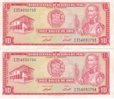 PAREJA CORRELATIVA DE PERU DE 10 SOLES DE ORO DEL AÑO 1973 EN CALIDAD EBC (XF) (BANKNOTE) - Peru