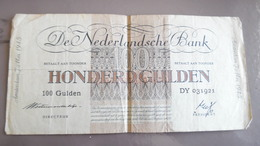 Billet De 100 Gulden 1945 Pays Bas Nederland - [2] 1815-… : Royaume Des Pays-Bas