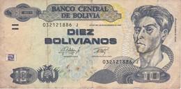 BILLETE DE BOLIVIA DE 10 BOLIVIANOS DEL AÑO 1986 (BANKNOTE) - Bolivia