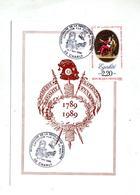 Carte  Cachet Charly Bicentenaire Revolution Fuite Vue Embleme - Marcophilie (Lettres)