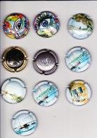 10 Capsules Muselets 2 Art Collection Graffiti N°5 1 Champagne Singer 6 Cancen Val De Loire 1  Saint Roch Ts Différents - Capsules & Plaques De Muselet