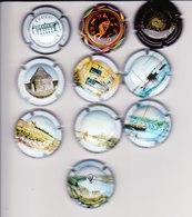 10 Capsules Muselets  6 Cancen Val Loire 1 Cancen Les Loges 1 Jeux Olympiques 1 Couamais 1 Moncontour Ts Différents - Capsules & Plaques De Muselet