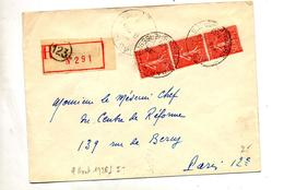Lettre  Recommandee Paris 123  Etiquette Sans Lieu - Postmark Collection (Covers)