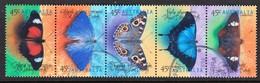 Australia 1998 Butterflies Strip Of 5 Used - 1990-99 Elizabeth II