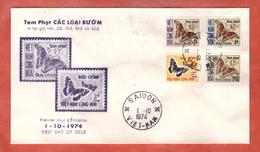 VIETNAM DU SUD FDC PAPILLONS SURCHARGES DE 1974 DE SAIGON - Viêt-Nam