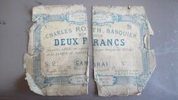 Billet 2 Francs Charles Roth Banquier CAMBRAI 1970 - Bonds & Basic Needs