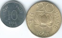 India - 10 Paise - 1980 - Ottawa Mint (KM40.1) & 20 Paise - 1970 - Hyderabad Mint (KM41) - Inde