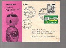 1957 1st Flight '57' Down In Cancel Zurich > Geneva > Tokyo (523) - Schweiz