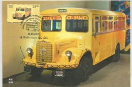 Maxim Card, School Bus,Means Of Transport Through Ages, Pictorial Cancellation, By India Post - Camion