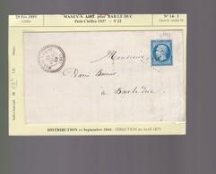 Lettre 1859  : Maxey  Sur Vaise ! Pour Bar Le Duc   PC 1937 + T 22    Indice Marcophilie 10  : Timbre 14-I - Marcophilie (Lettres)