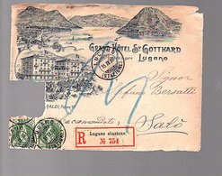1896 Grand Hôtel St. Gotthaard R-Lugano Stazione > Salo Stefano Bersatti, Front Only (529) - 1882-1906 Stemmi, Helvetia Verticalmente & UPU