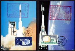 France 1963 Telstar Satellite 2v On Card Space Special Cancellation ( - Space
