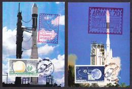 France 1963 Telstar Satellite 2v On Card Space Special Cancellation (B) ( - Space