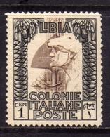 LIBIA 1924 1929 PITTORICA SENZA FILIGRANA UNWATERMARK CENT. 1c MLH BEN CENTRATO - Libia