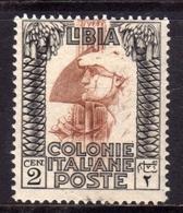 LIBIA 1924 1929 PITTORICA SENZA FILIGRANA UNWATERMARK CENT. 2c MLH BEN CENTRATO - Libia