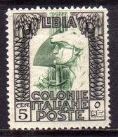 LIBIA 1924 1929 PITTORICA SENZA FILIGRANA UNWATERMARK CENT. 5c MLH BEN CENTRATO - Libia