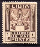 LIBIA 1924 - 1929  PITTORICA SENZA FILIGRANA UNWATERMARK LIRE 1 LIRA MNH  BEN CENTRATO - Libia