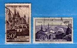 France °- 1951 - Yvert. 916-917 . Obliterer. Vedi Descrizione. - Francia