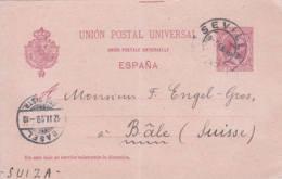 ESPAGNE - 1899 -  Entier Postal Pour La Suisse - Lettres & Documents