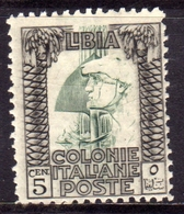 LIBIA 1926 - 1930 PITTORICA  CENT. 5c DENT. 11 PERF. MLH - Libia
