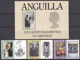 1986Anguilla 697-699Tab+700/B6960 Years Of Queen Elizabeth II10,00 € - Anguilla (1968-...)