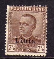 LIBIA 1928 - 1929 SOPRASTAMPATO D'ITALIA REGNO ITALY OVERPRINTED RE VITTORIO EMANUELE CENT. 7 1/2c MLH - Libia