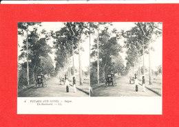 VOYAGE Aux INDES Cpa Steréoscopique Animée  Saigon Un Boulevard        4   LL - Vietnam