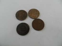 Lot De  4  Monnaies    10 Centimes    Dans L état  1871 A  + 1912  + 1899  + 1916 - Munten & Bankbiljetten