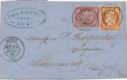 31 Mars 1876 10c Et 40 C S LAC Signée Calves TTB. - 1871-1875 Cérès