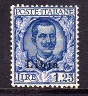 LIBIA 1928-1929 FLOREALE SOPRASTAMPATO D'ITALIA ITALY OVERPRINTED LIRE 1,25  MNH SIGNED FIRMATO BEN CENTRATO - Libia